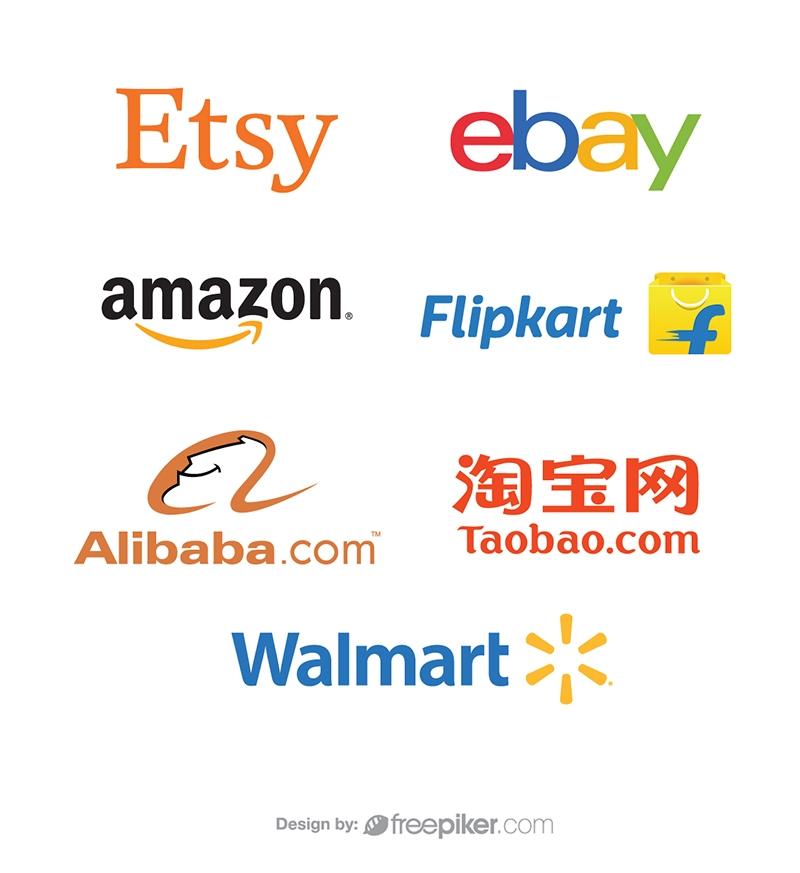 Amazon Etsy Walmart Alibaba Ebay Taobao & Flipcart Logo