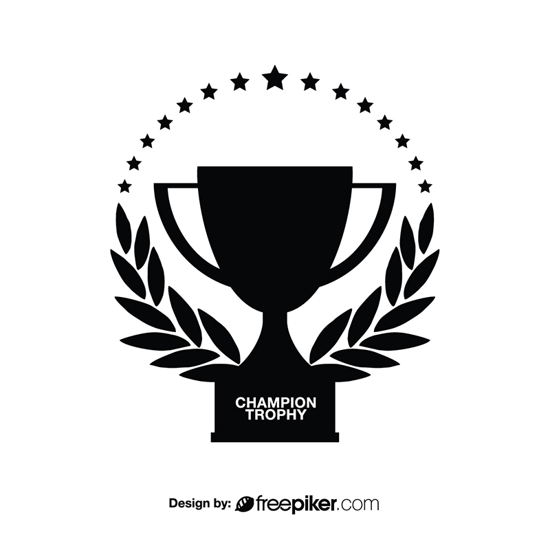 Champions Trophy Award with Leaves Black White
