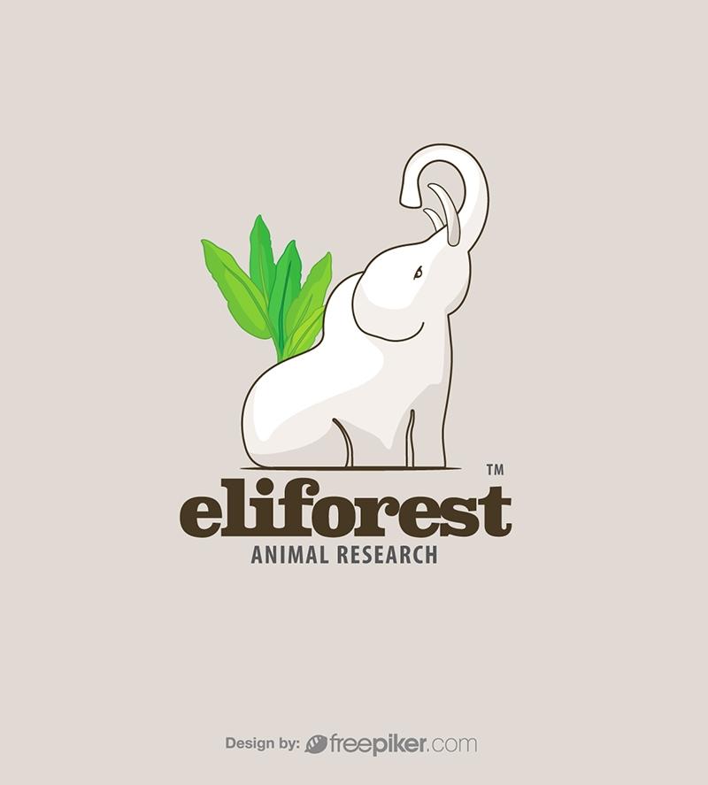 Forest White Elephant Animal Logo