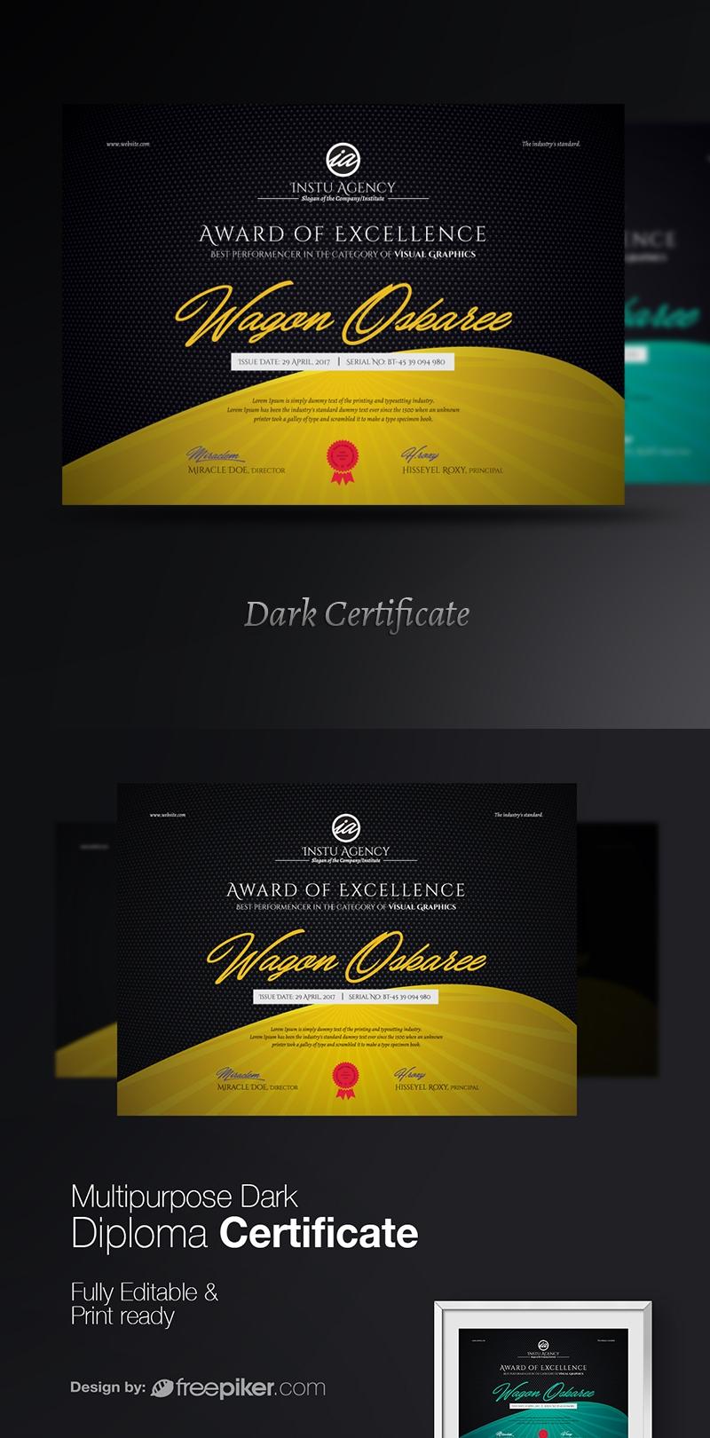 Multipurpose Dark Diploma Certificate