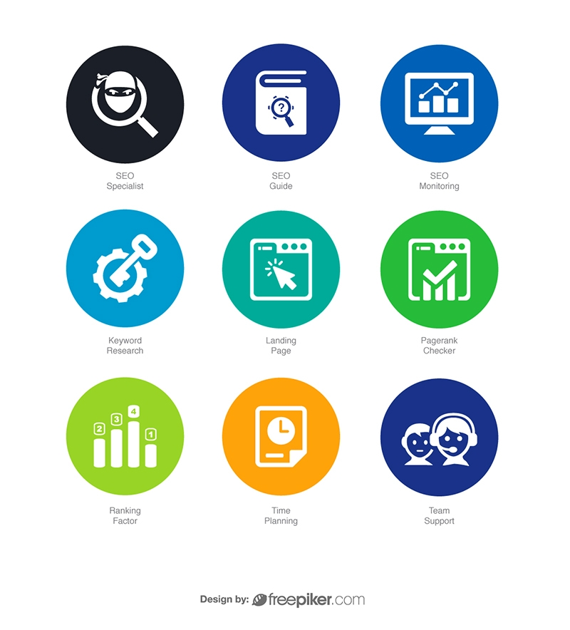 SEO Icons in Colorful Circle v7 Vector Icons