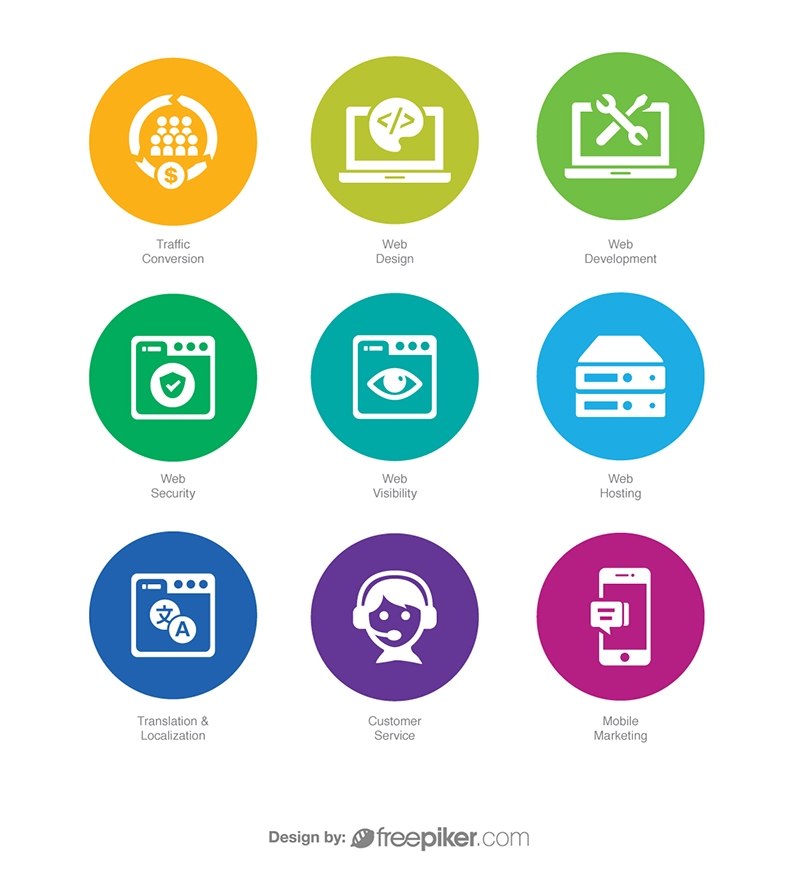 SEO Icons in Colorful Circle v5 Vector Icons