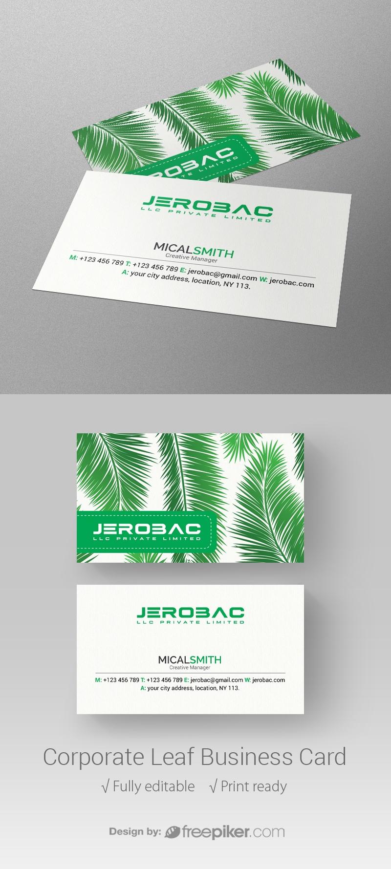 Freepiker   corporate leaf business card