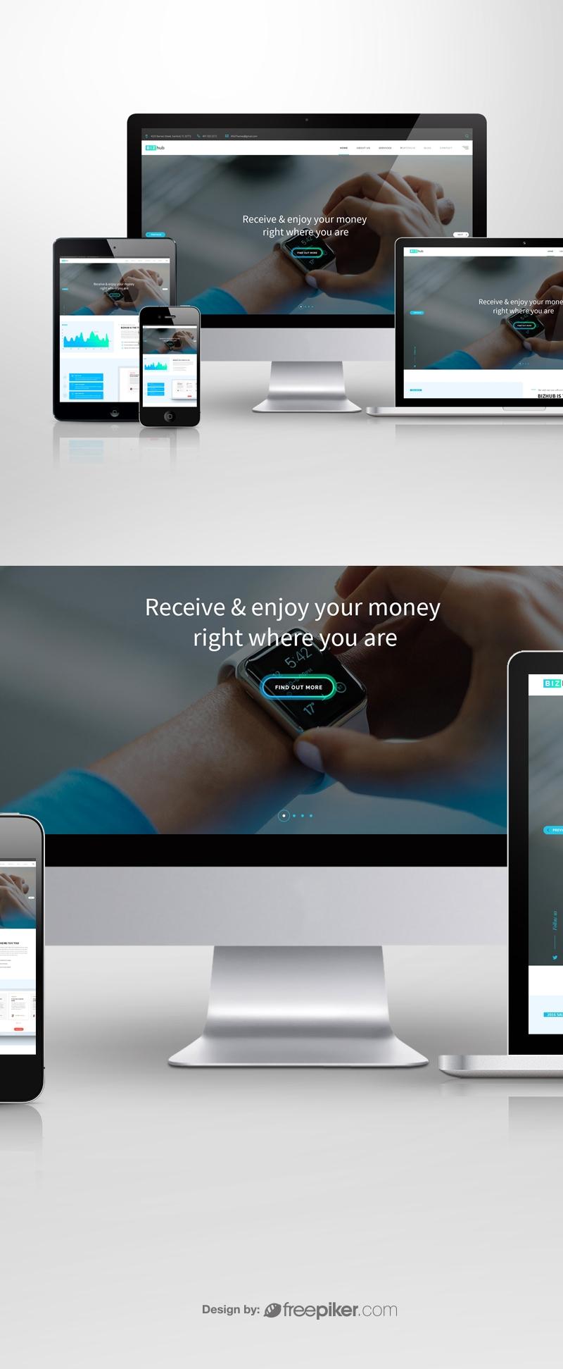 Responsive Screen Mockup for Web Showcase