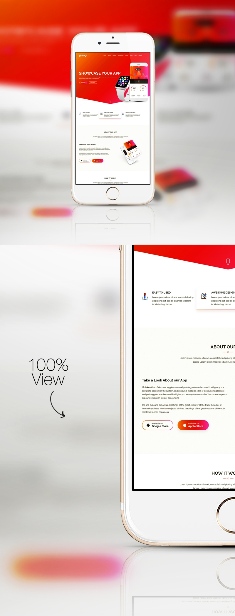 Responsive Mobile SmartPhone Device Screen Mockup White iPhone