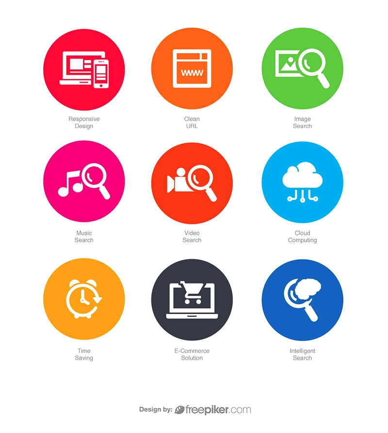 SEO Icons in Colorful Circle v6 Vector Icons