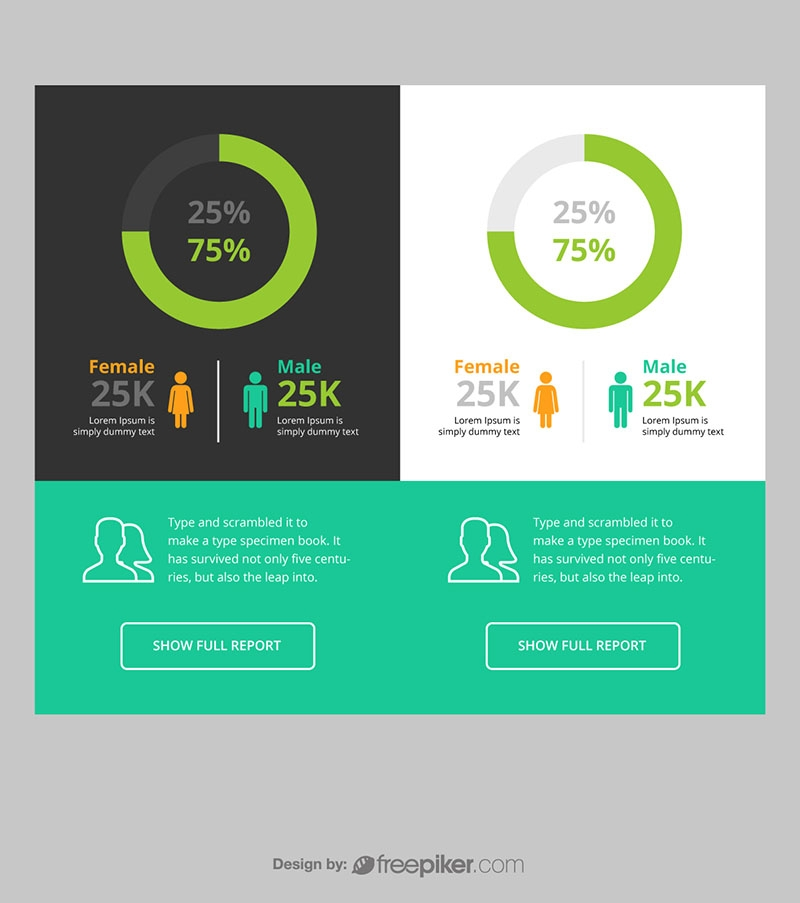 Freepiker Responsive Pie Chart Infographic Ui Ux With Male Female