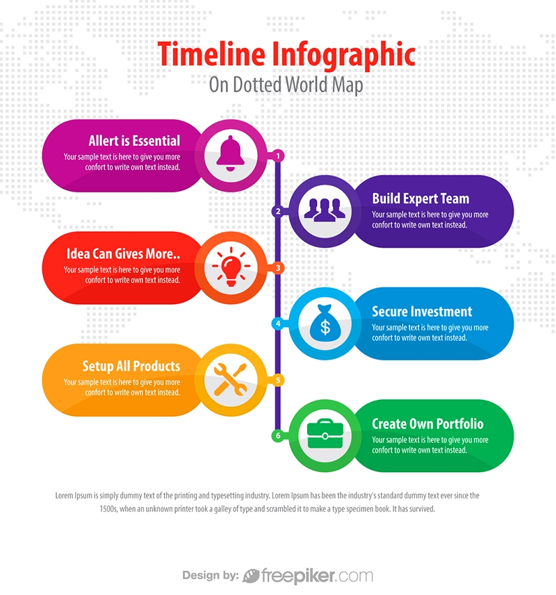 freepiker business timeline infographic on dotted map