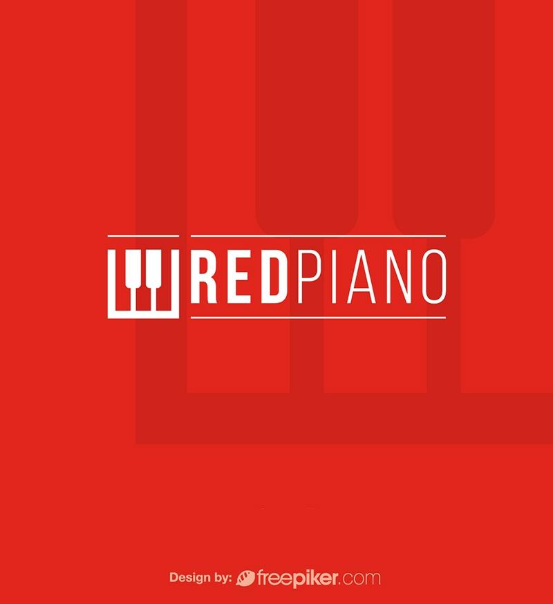 Red Piano Music Instrument Logo
