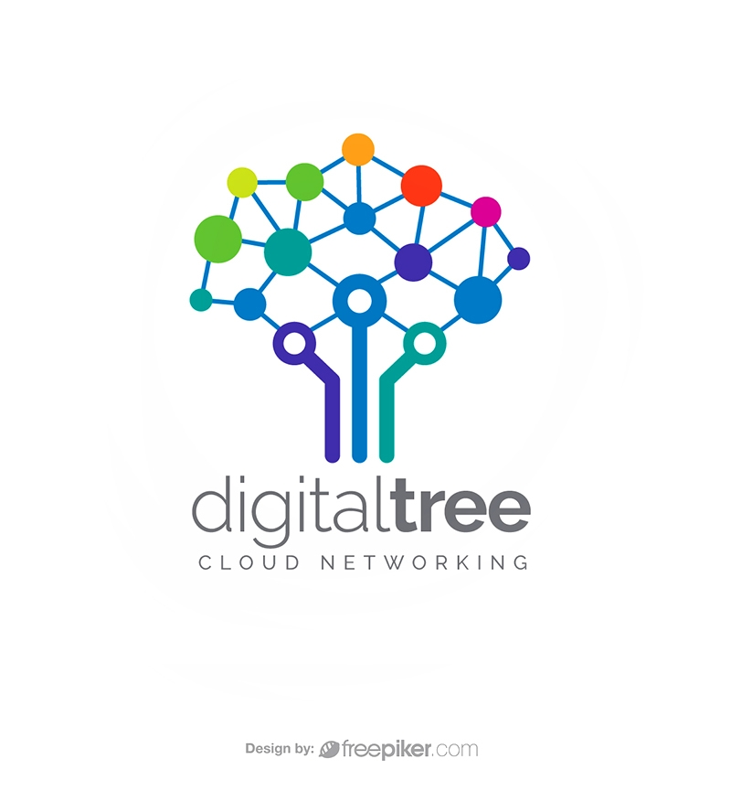Digital Tree Cloud Networking Logo