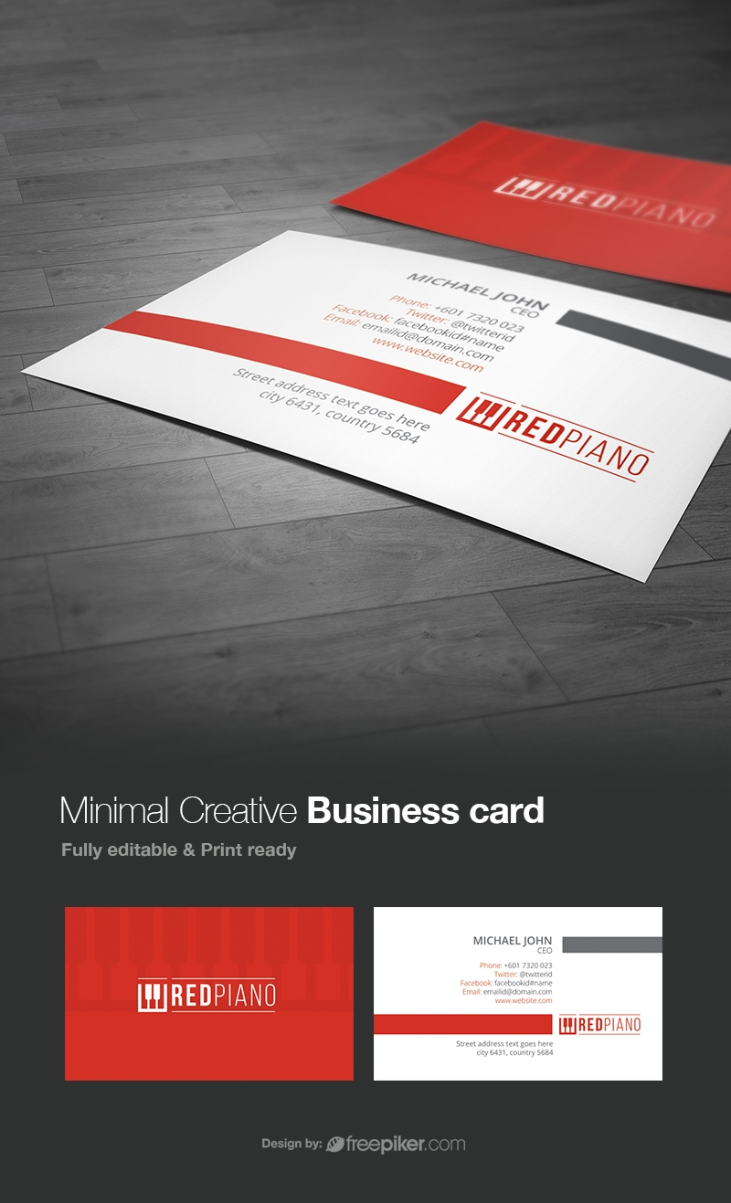 Freepiker corporate clean red business card corporate clean red business card colourmoves
