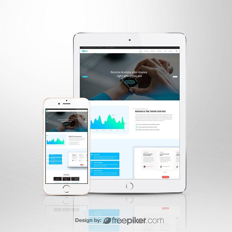 Responsive Screen White Tablet & Smartphone Mockup