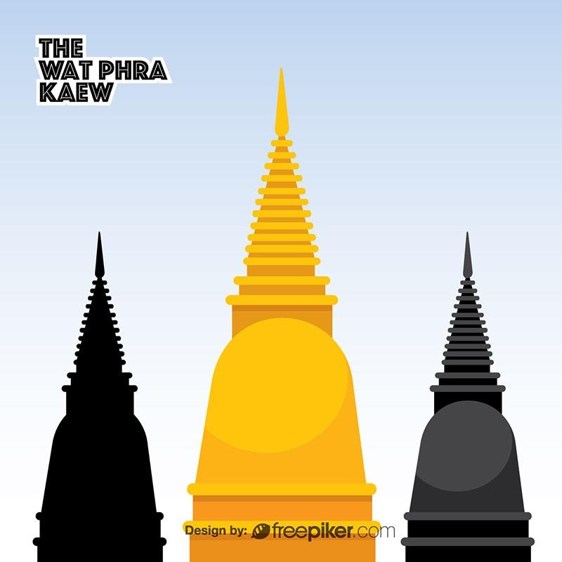 The Wat Phra Kaew Temple of the Emerald Buddha Vector