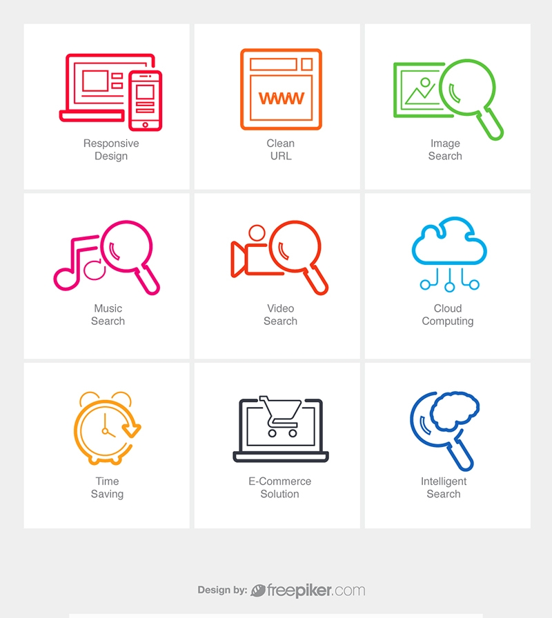 SEO Line Icons v6 Vector Icons