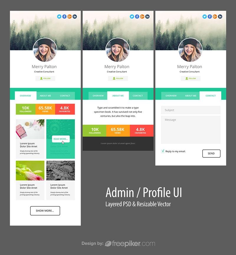 Responsive Admin Profile Dashboard UI & UX