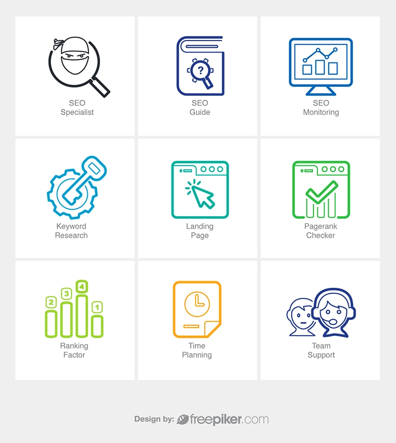 SEO Line Icons v7 Vector Icons