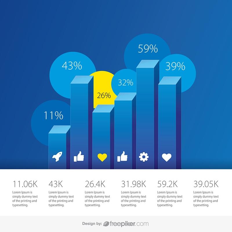 Blue Column Chart 3D Infographics