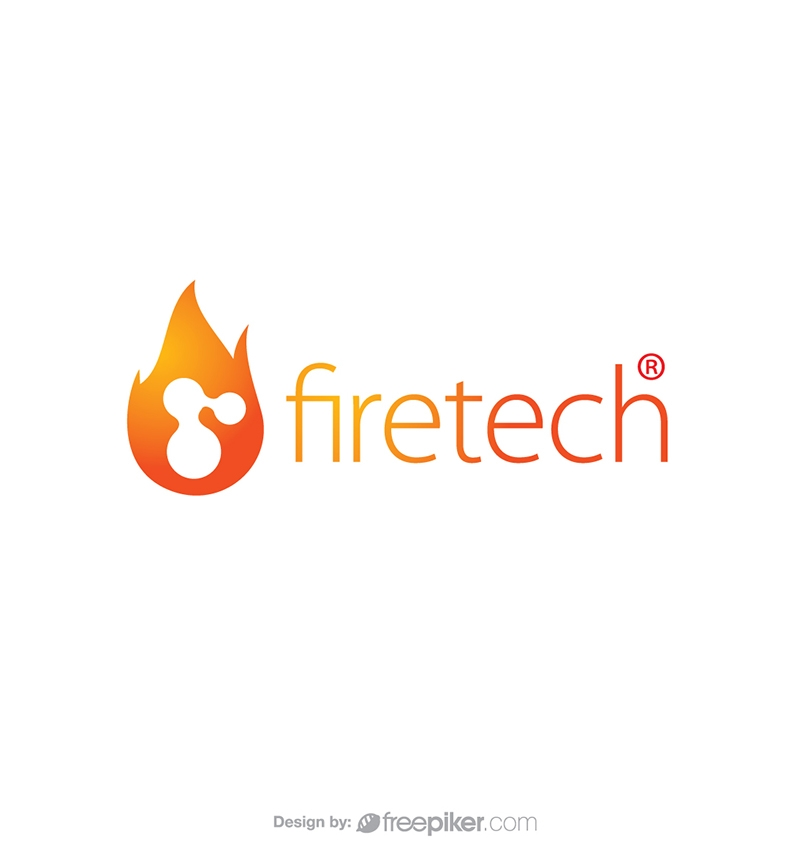Technology Fire Tech in Flame Logo