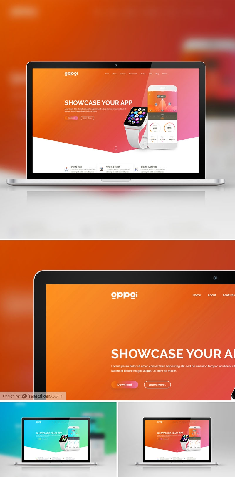 Responsive Laptop Device Screen Mockup for Web Showcase