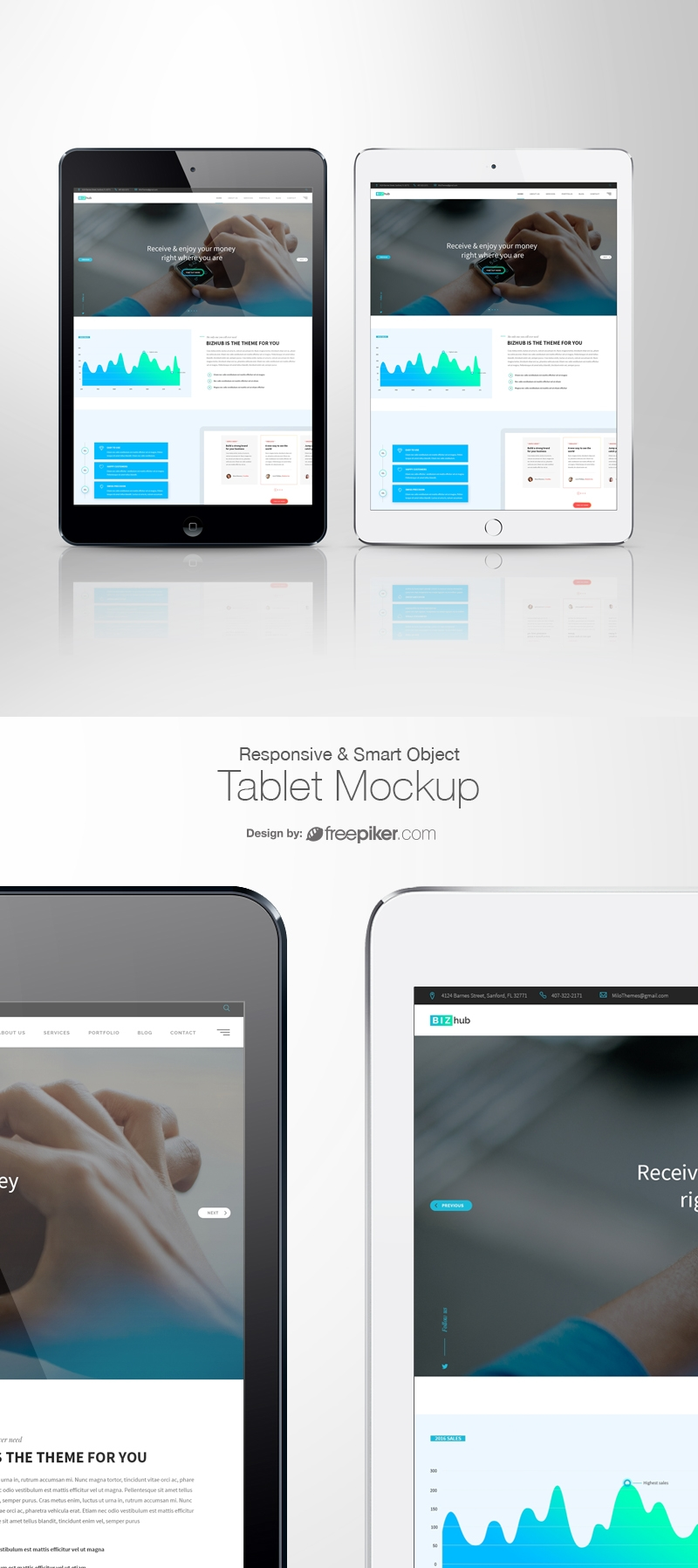 Responsive Screen Mockup Whote & Bacl Tablet