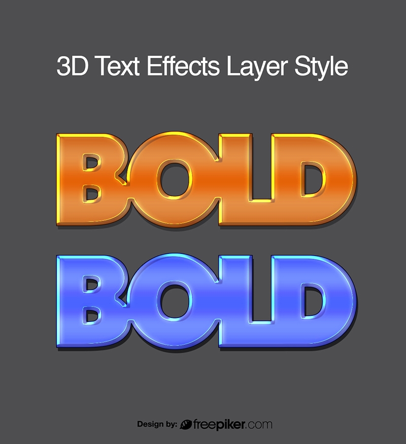 3D text effect layer style