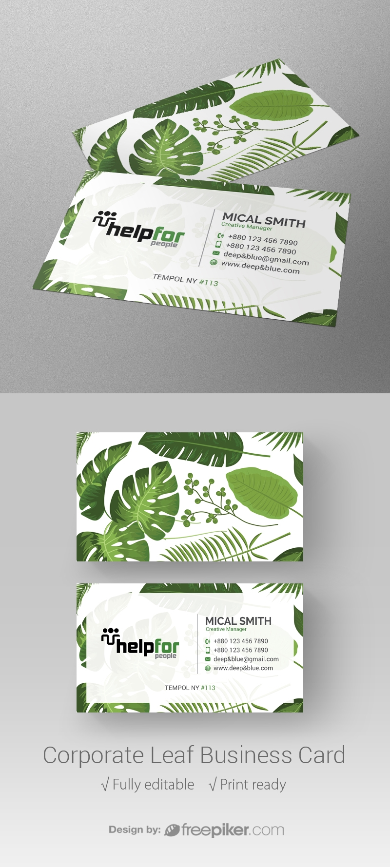 Freepiker | corporate leaf business card