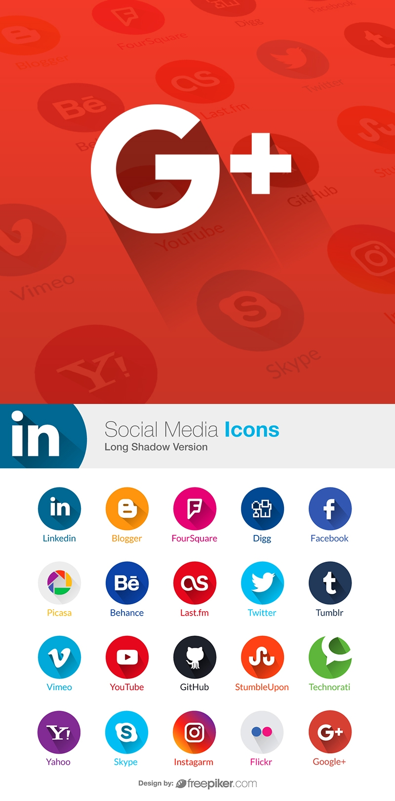 Social Media Long Shadow Icons