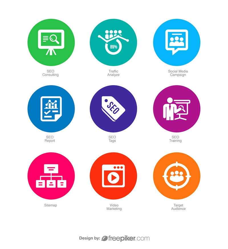 SEO Icons in Colorful Circle v4 Vector Icons