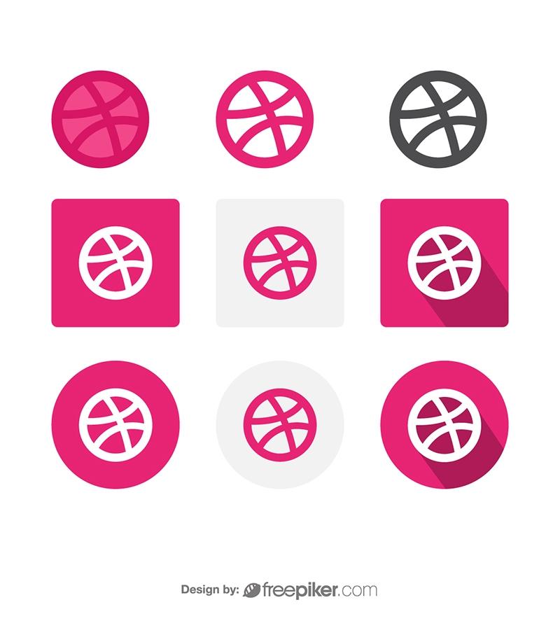 Dribbble Social Media Icon Vector Icons