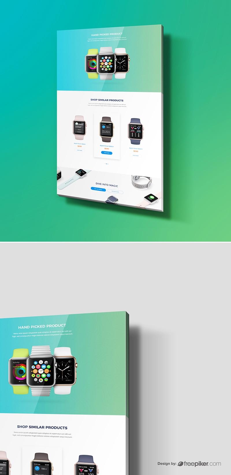 3D Web Display Showcase Mockup