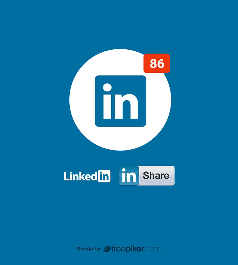 Linkedin Logo Icon & Share Vector