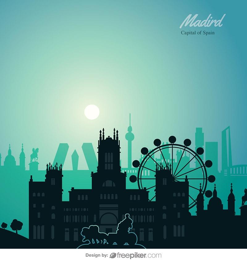 Madrid Skyline Travel Vector