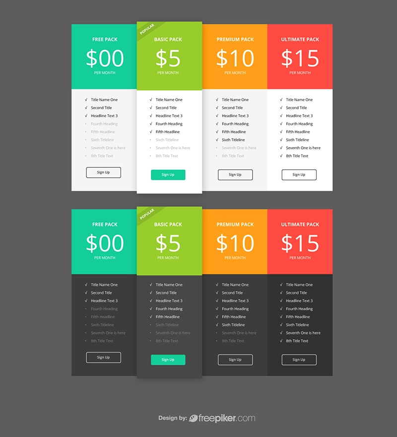 Responsive Packaging & Pricing Table UI