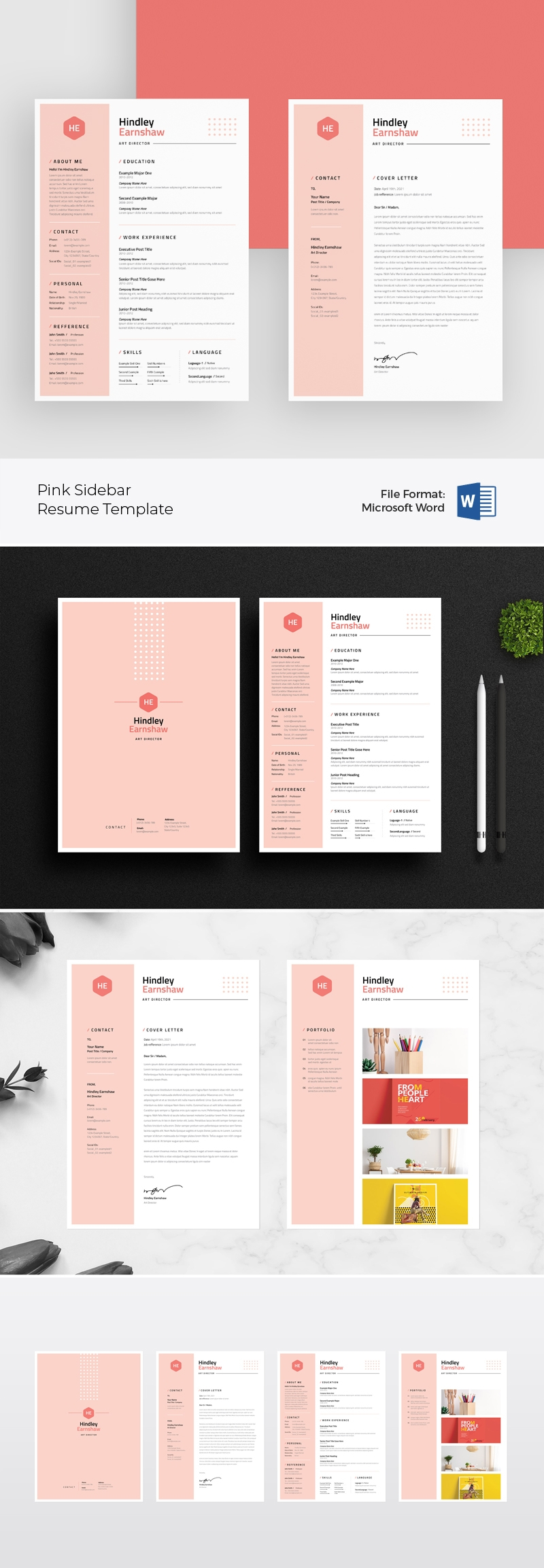 Professional Resume & Cover Letter / CV With Pink Sidebar