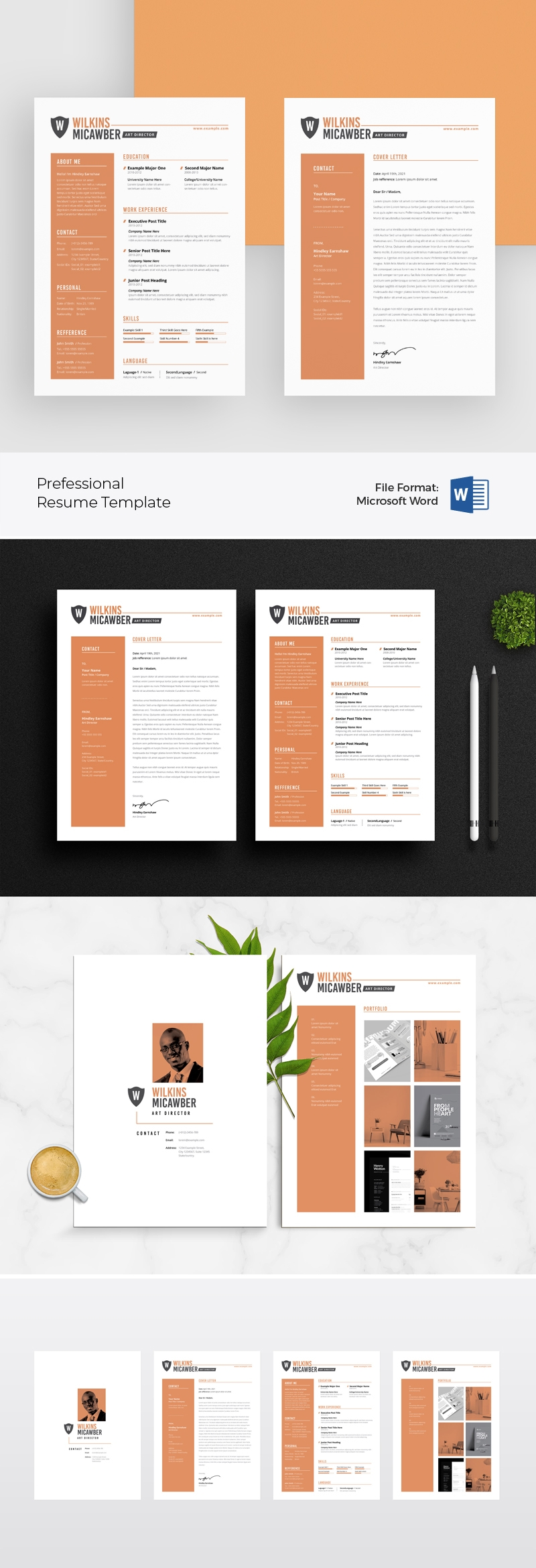 Professional Word Resume Template / CV With Peach Sidebar