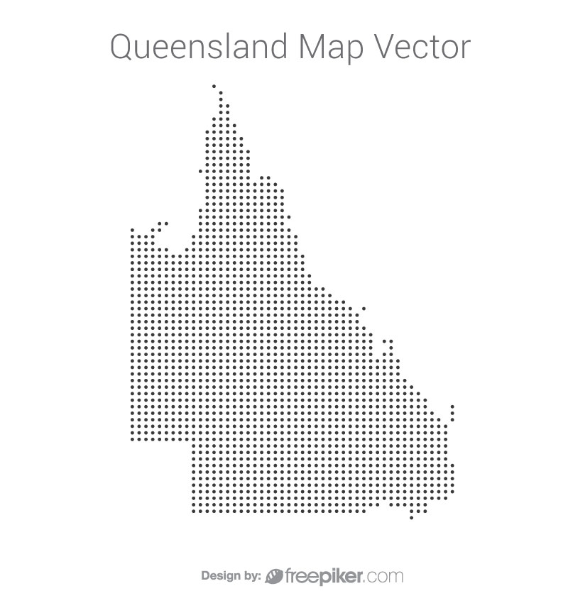 Queensland Map By Dots Vector Design