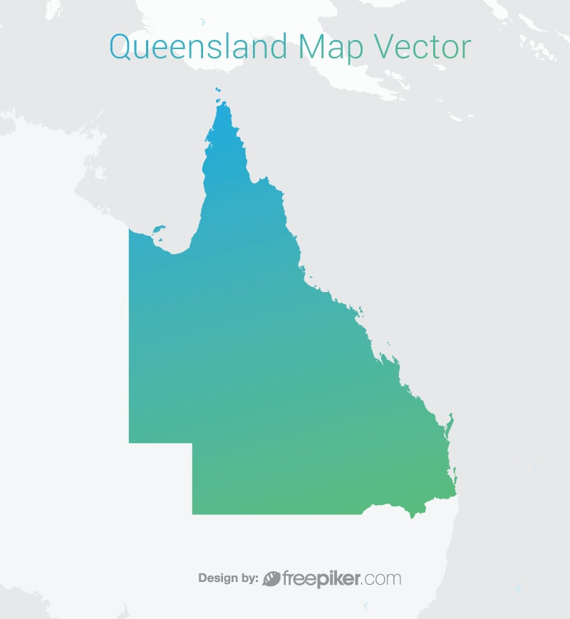Queensland Map By Gradient Color Vector Design