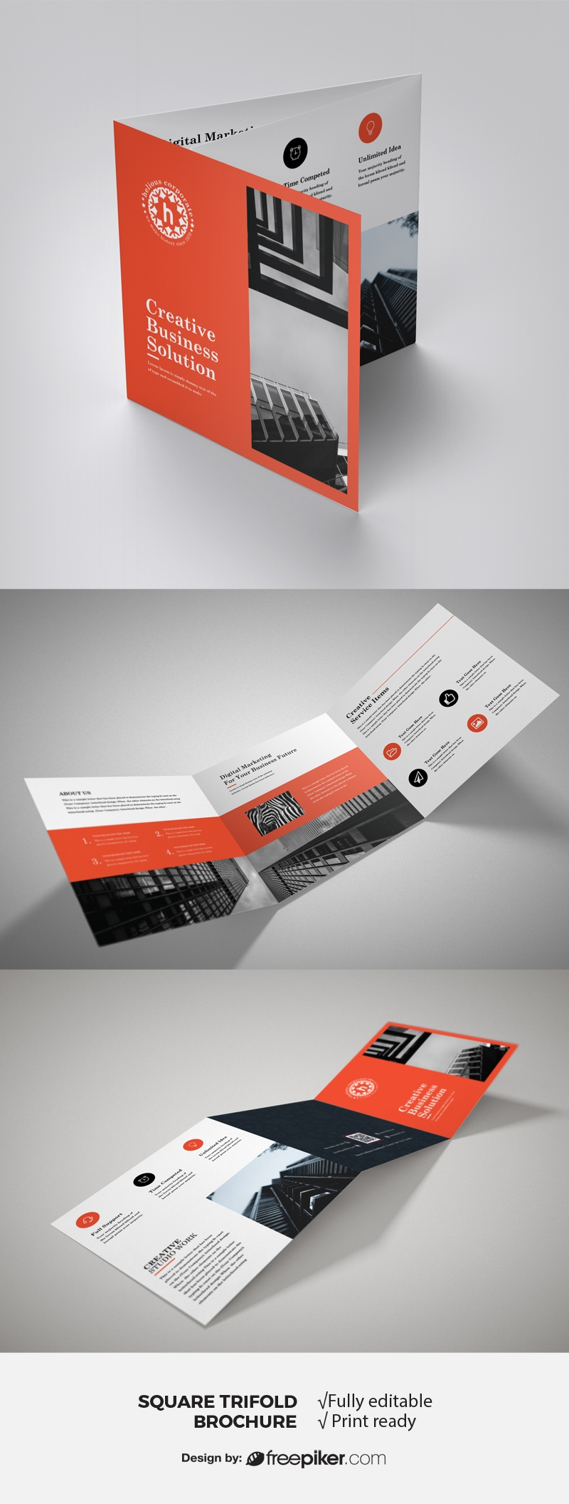 Red Accent Business Square TriFold Brochure