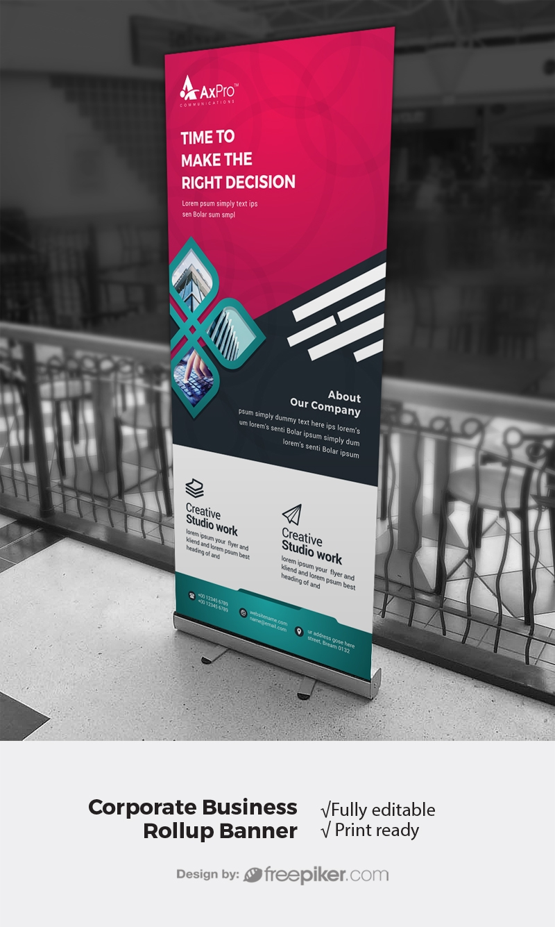 Red And Black Corporate Rollup Banner