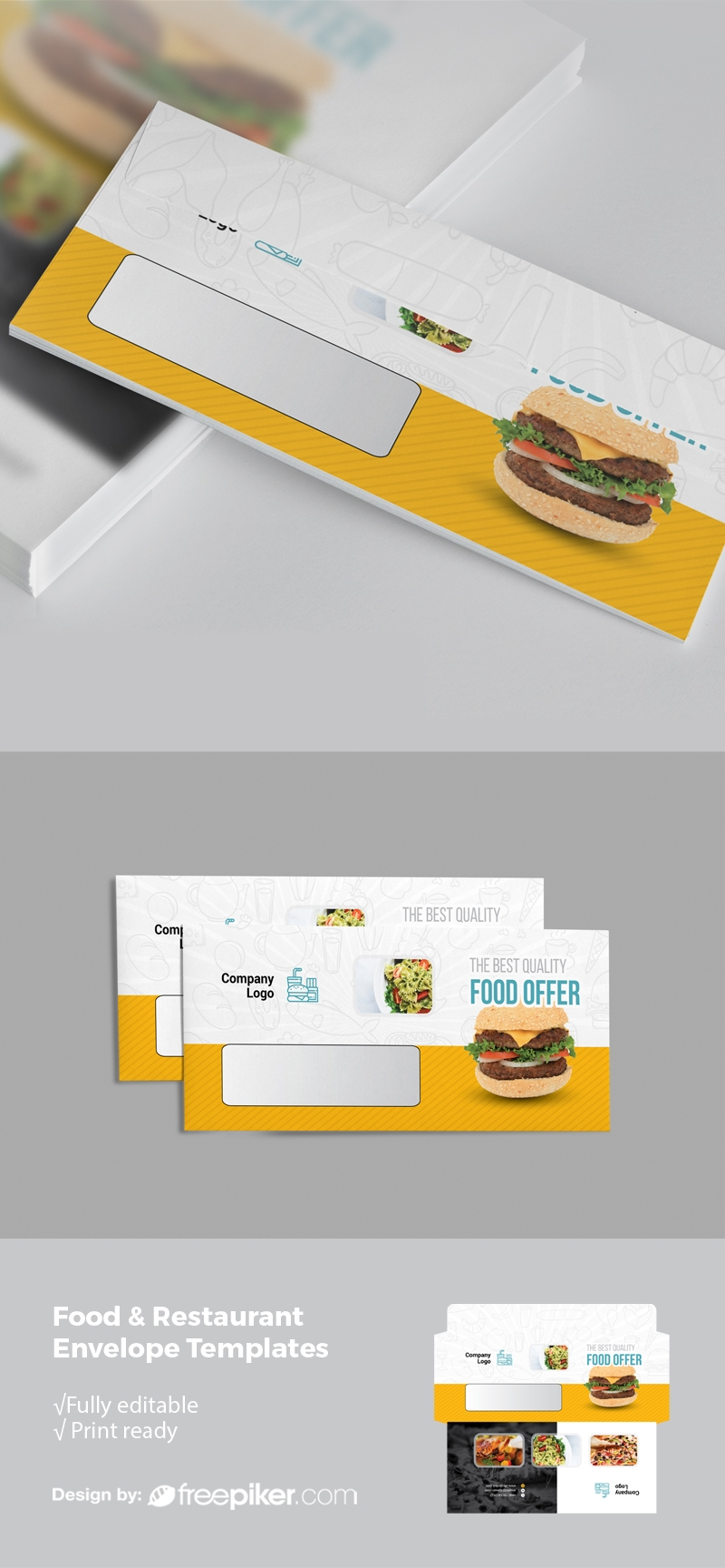 Restaurant DL Envelope With Yellow Black Accent