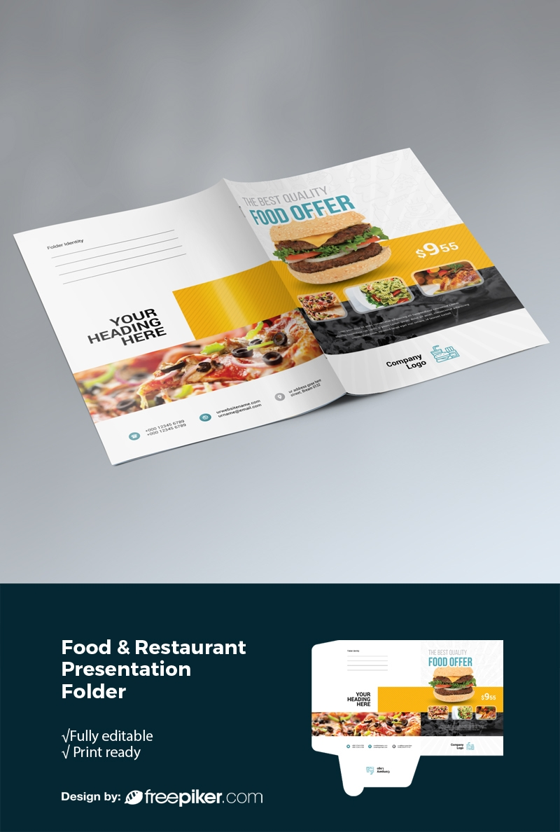 Restaurant Presentation Folder With Yellow Black Accent
