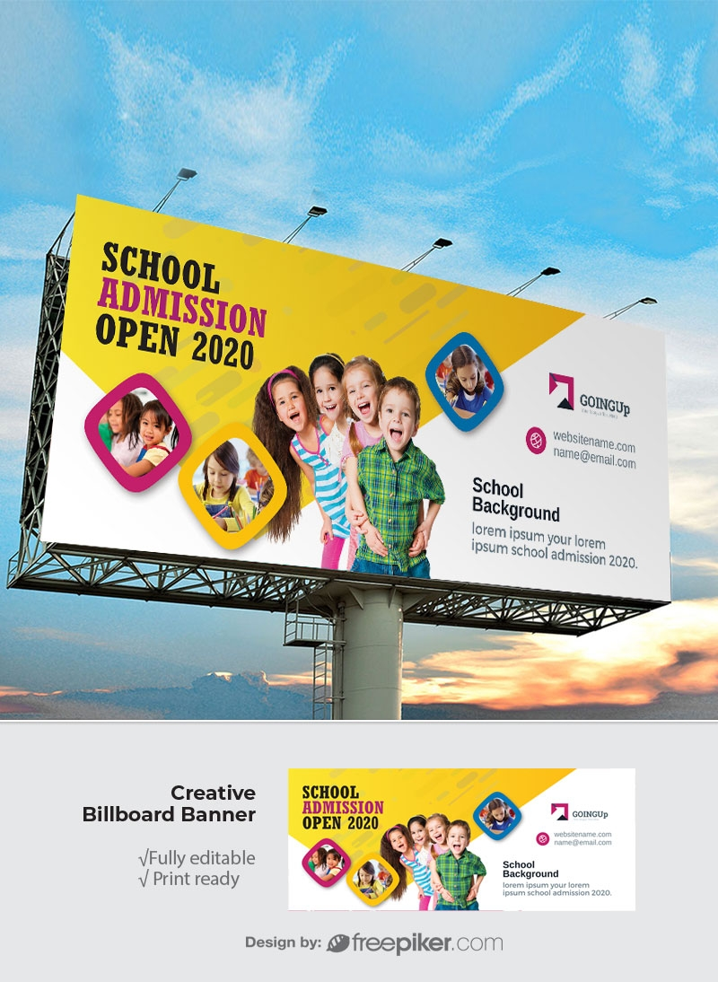 School Admission Billboard Sinage With Yellow Accent