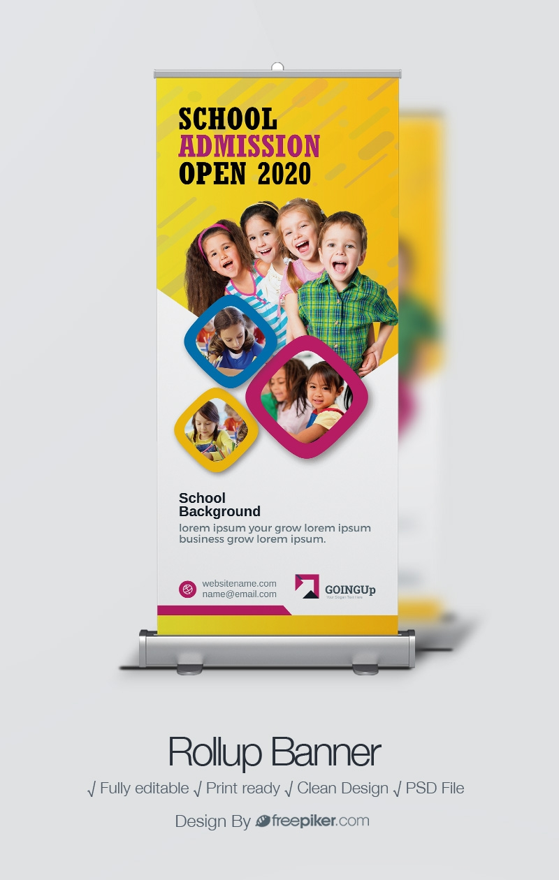 Freepiker School Admission Rollup Banner With Yellow Accent