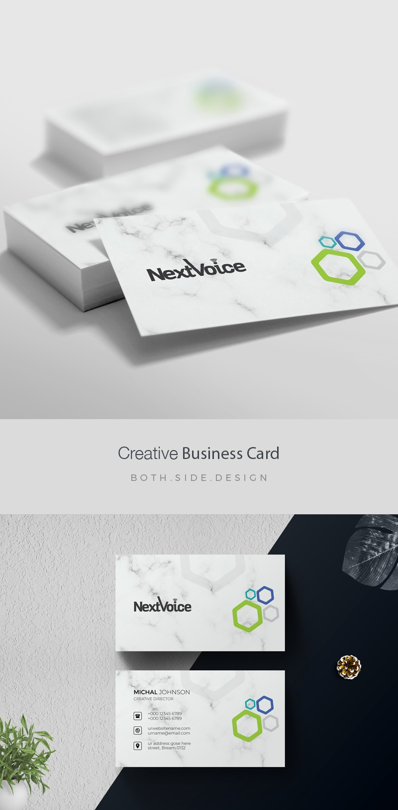 Simple Clean BusinessCard With Hexagon