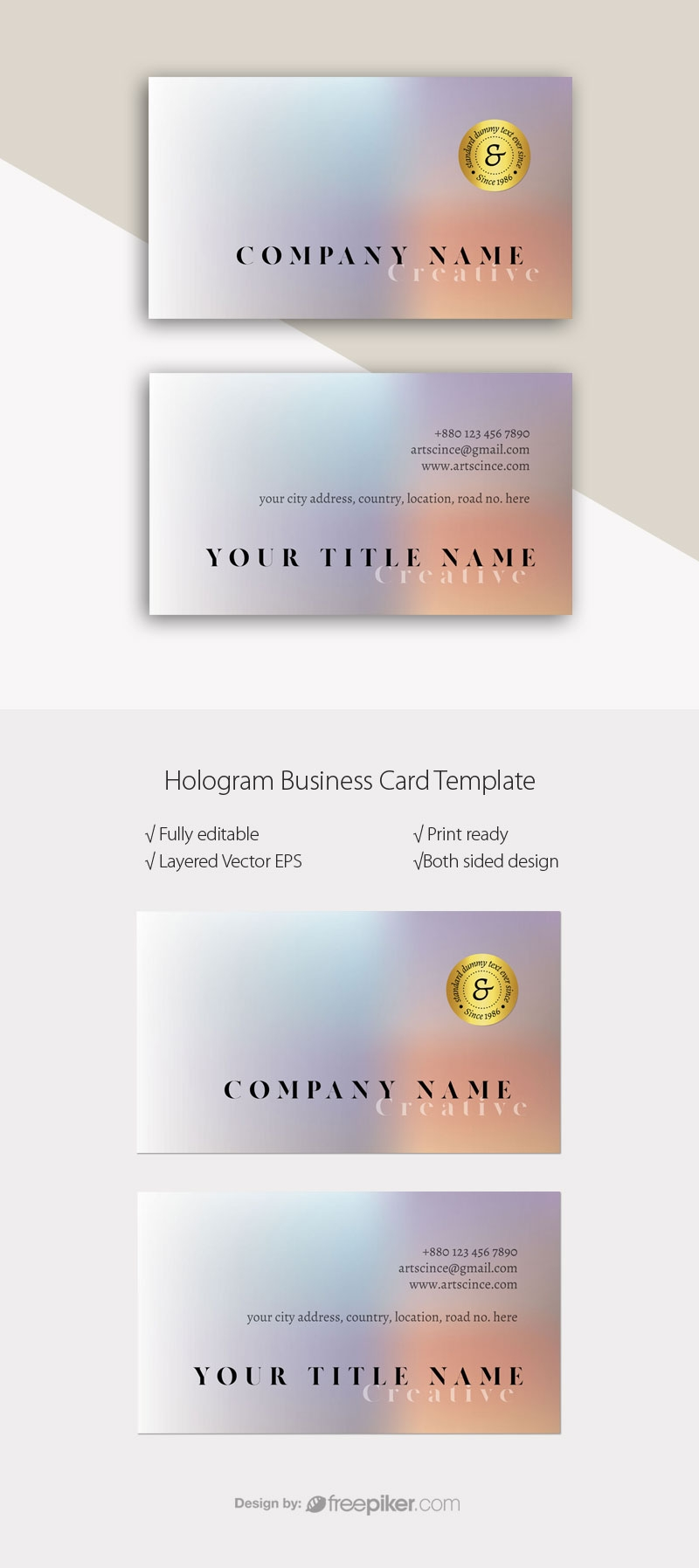 Simple Holographic BusinessCard Template