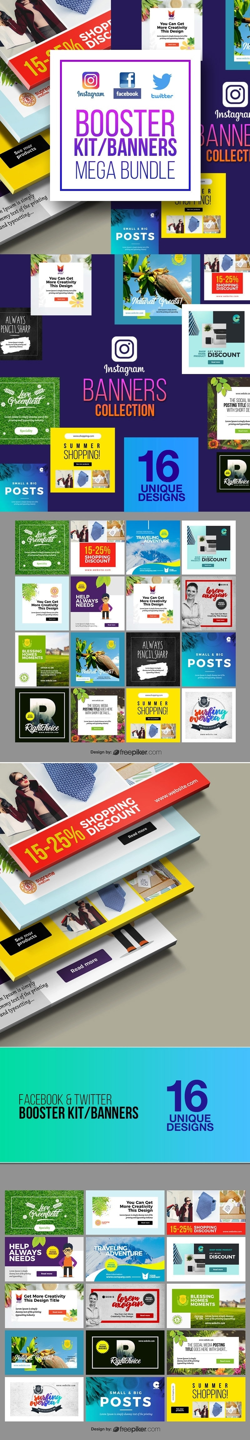 Social Media Booster Banners Collection