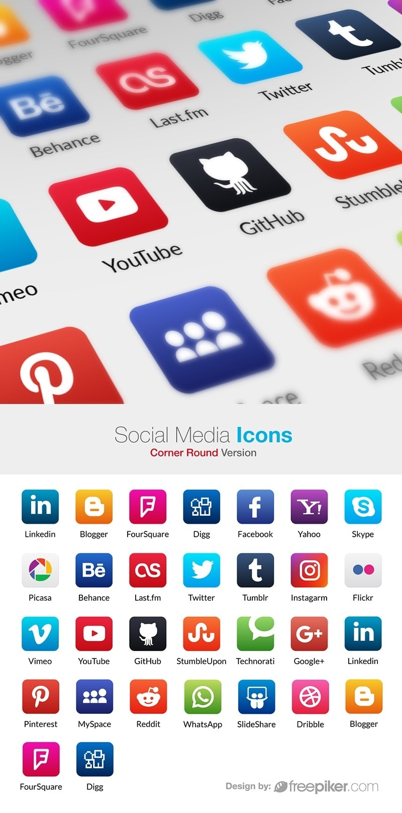 Social Media Icons Corner Rounded