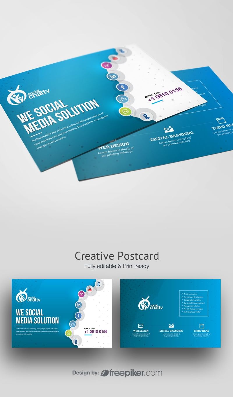 Social Media Post Card with Social Icons