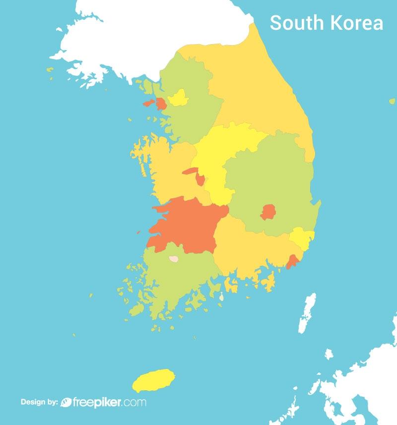 South Korea Map Colorful Vector Design