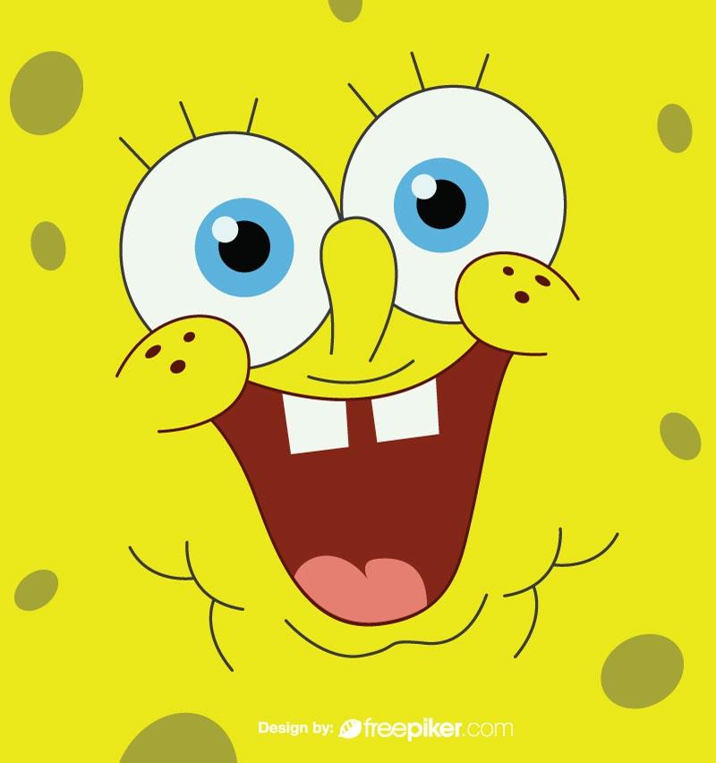 Sponge bob Cartoon Face Vector
